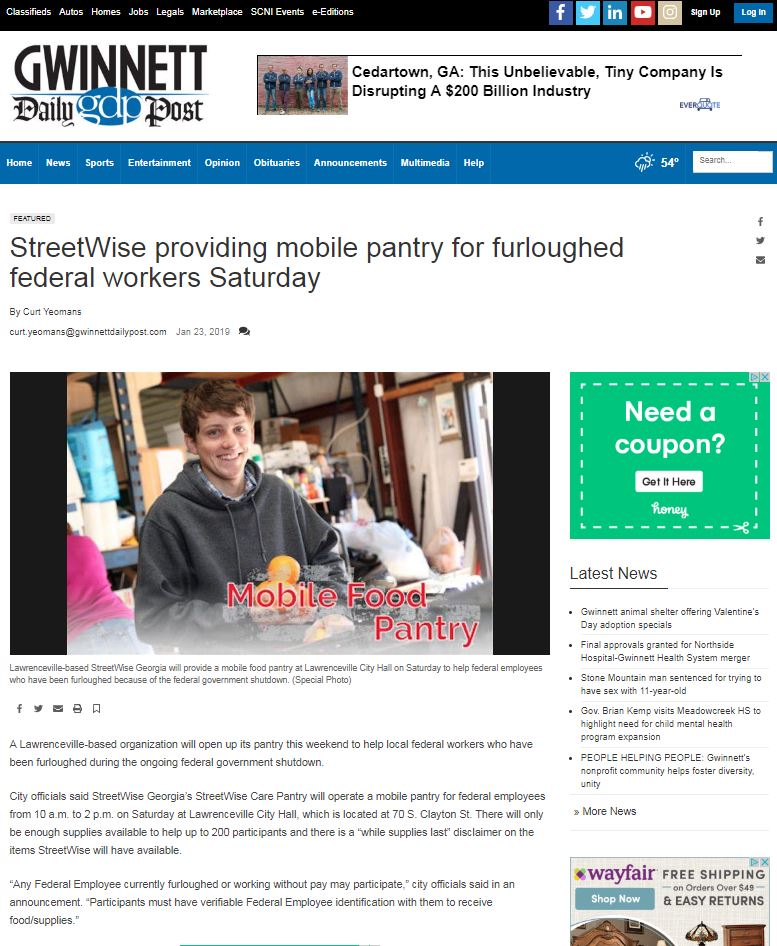 StreetWise providing mobile pantry for furloughed federal workers
